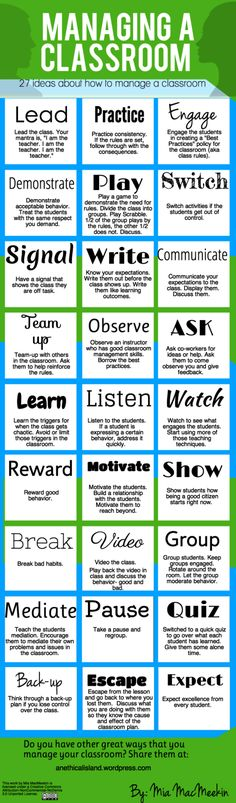 27 Tips For Effective Classroom Management - a great info graphic as a quick reference on how to be an effective teacher with classroom management.