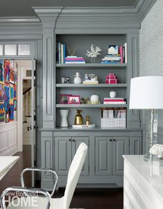 The millwork and built-ins in the wife's office were updated with glossy gray paint. Furniture Layout, Home Office Furniture, Furniture Design, Plywood Furniture, Kitchen Furniture, Kitchen Armoire, Rooms Furniture, Furniture Ideas, Office Interior Design