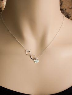 Erste Herz Charme benutzerdefinierte acht Infinity Halskette  7feee74f9b5b4
