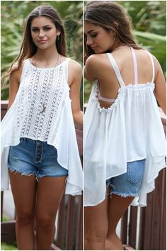 This pretty white tank is the summer staple you NEED in your closet! It features a crochet front with waterfall ruffle detailing down the front and sides.  Mate