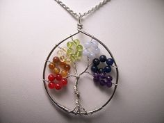 Rainbow Tree of Life Pendant with 18 Sterling by gandltreasures