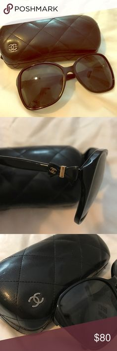 Chanel Sunglasses with Bow Detail Black Oversized Chanel Sunglasses with Bow Detail. Comes with original case and cleaning cloth. Only worn once, no scratches and in perfect condition. CHANEL Accessories Sunglasses