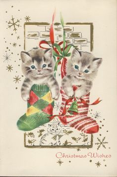Vintage Christmas Card Die Cut Cut Out Pair of Kittens Cats as Stocking Stuffers | eBay
