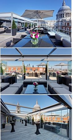 Grange St Paul's Hotel Sky Bar is an exclusive penthouse-level bar with rooftop… Rooftop Design, Rooftop Lounge, Rooftop Restaurant, Rooftop Terrace, Restaurant Design, London Places, London Hotels, Cultures Du Monde, Best Rooftop Bars