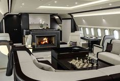 Elisabeth Harvey head of design at Basel-based aviation interiors design studio, Jet Aviation, talks to us about the process of designing and outfitting a private aircraft, complete with pop-up vanity case and walk-in closet to designer fireplace Luxury Boat, Luxury Jets, Luxury Private Jets, Private Plane, Luxury Yachts, Luxury Travel, Home Interior, Luxury Interior, Interior Walls
