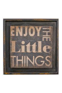 'Enjoy the Little Things' Burlap Framed Print.