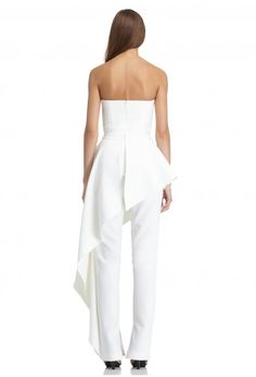 Image 4 of AQ/AQ Adelia Strapless Jumpsuit with Fitted Waist and Feature Peplum · Cream White ·