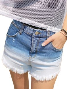 Zipper Fly Raw Fringes Pockets Women's Denim Jean Shorts Hot Bottoms on buytrends.com