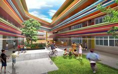 Arquitetura contemporânea colorida. Escola primária de Nanyang na Singapura;