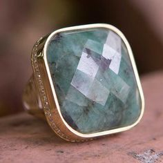 Gold vermeil cocktail ring, 'Tropical Emerald' - Brazilian Gold Vermeil and Composite Emerald Cocktail Ring