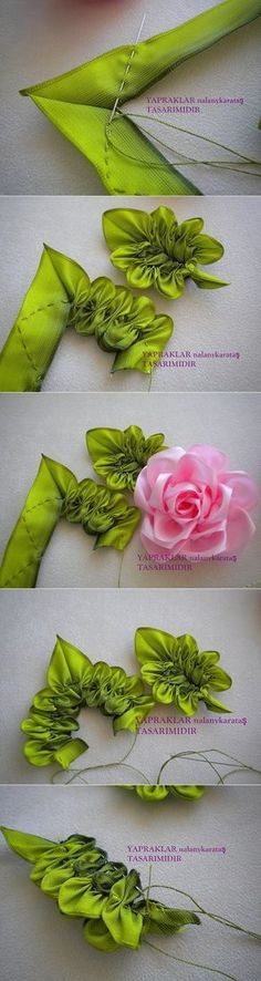 Wonderful Ribbon Embroidery Flowers by Hand Ideas. Enchanting Ribbon Embroidery Flowers by Hand Ideas. Ribbon Art, Ribbon Crafts, Flower Crafts, Fabric Crafts, Sewing Crafts, Ribbon Flower, Handmade Flowers, Diy Flowers, Fabric Flowers