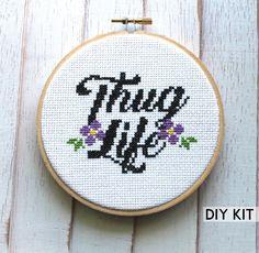 Thug Life Counted Cross Stitch DIY KIT Intermediate