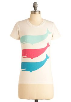 A Whale-y Good Time Top - Mid-length, Casual, White, Blue, Pink, Novelty Print, Vintage Inspired, Short Sleeves