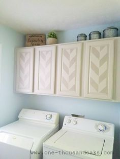 Stenciled Cabinets | Laundry Room Decor | One Thousand Oaks
