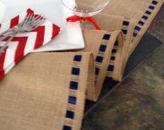 "Burlap Ribbon Table Runner - 12"" wide by 84"" long Premium Natural Burlap - Holiday - Wedding or Party - burlap runners"