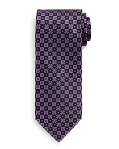 Neat+Square-Patterned+Silk+Tie,+Purple+by+Stefano+Ricci+at+Neiman+Marcus.