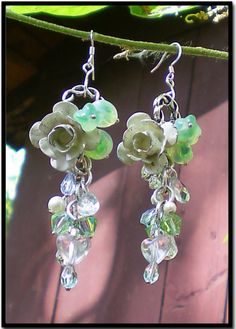 Vintage Enameled Rose Earrings with Crystals by RescuedOfferings, $35.00