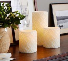 Flameless Wax Medallion Pillar Candle #potterybarn
