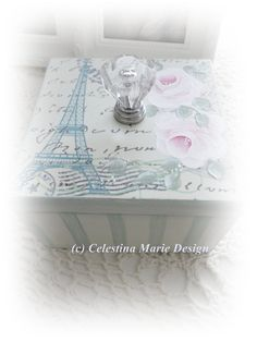 Eiffel Tower Keepsake Box with Hand Painted Pink Roses, Aqua Stripes and French Style Graphic, ECS, CSSTeam. $15.00, via Etsy.