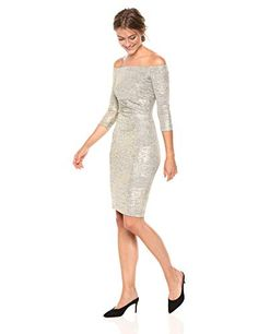 Vince Camuto Women's Off The Shoulder Knit Bodycon Metallic Dress, Dresses For Work, Formal Dresses, Vince Camuto, Off The Shoulder, Amazon, Knitting, Casual, Gold