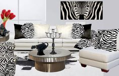 Zebra, Black, White, pillows and accessories.