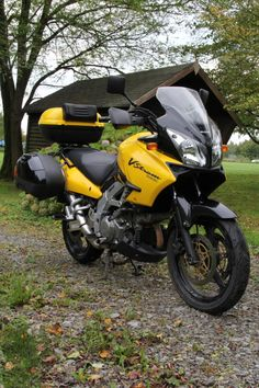 Suzuki DL 1000 V-Strom, black and yellow.