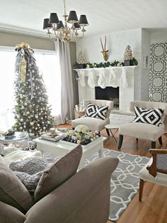 Go Sophisticated Although the classic red-and-green scheme has dominated holiday living rooms, this modern sitting room proves that your existing color palette can inspire the prettiest of holiday themes. Black, white, gold, and gray mix together in both ornamental and everyday vignettes for a look that feels transitional and on point.
