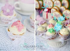 Colourful wedding cup cakes Wedding Cups, Wedding Cupcakes, Cup Cakes, Wedding Colors, Sugar, Chic, Desserts, Food, Shabby Chic