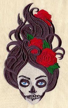 Dia de los Muertos Skeleton Girl by EmbroideryEverywhere on Etsy, $14.99