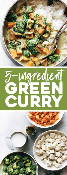 5-Ingredient Green Curry! packed with tons of veggies, an easy green curry sauce, and finished with golden raisins and cilantro. Easy! #curry #greencurry #tofu #comfortfood #plantbased | pinchofyum.com