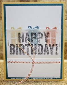 Birthday Surprise Vellum and Staples- Dena Lenneman, Stampin' Up! Demonstrator