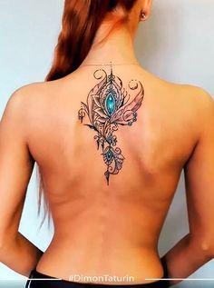 Peacock Feather Tattoo, Peacock Feathers, Awesome Tattoos, Cool Tattoos, Mandela Tattoo, Bestie Tattoo, Rock Tattoo, Ribbon Tattoos, Flower Fashion