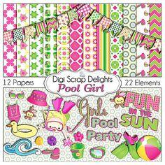 Pool Girl Digital Scrapbook Kit w Swimming Pool Clip Art for Pool Party, Birthday Cards, Invitations, Photo Cards, Digital Scrapbooking