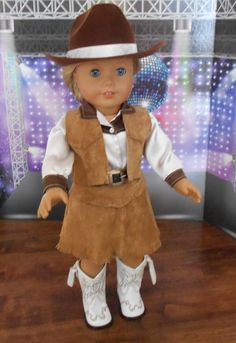 """Brown and White Western Shirt Fits 18/"""" American Girl Dolls"""