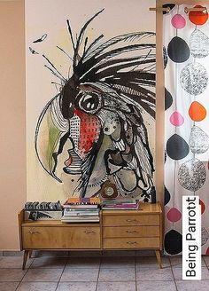Being Parrot Tapete: Being Parrot TapetenAgentur The post Being Parrot appeared first on Tapeten ideen. Tableau Pop Art, Mural Art, Bird Art, Art Techniques, Painting Inspiration, Art Projects, Art Drawings, Street Art, Abstract Art