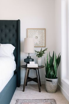 Bedside table decor - Moving Up! A Peek at our Bedroom Refresh – Bedside table decor Bedside Table Styling, Bedside Table Decor, Modern Bedside Table, Round Nightstand, Kids Nightstands, Home Decor Bedroom, Diy Home Decor, Bedroom Modern, Diy Bedroom