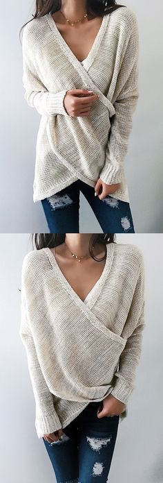 $33.99! Chicnico Simple Casual V Neck Front Cross Weekend Sweater Top ready for Fall fashion! Find fashionable outfits for the new #womenclothingforfall