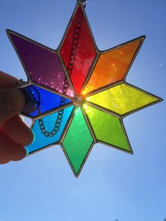 Stained Glass Star Multi Colour Stained Glass by CRhodesGlassArt