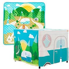 Kid's Perfect Adventure Bundle - The Extreme Imagination Baby Camper Playset Reversible Play Mat And Camping Hideout Teepee Tent - Perfect Playroom Decoration for Boys and Girls!