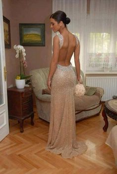 Buy Diyouth 2015 Long Open Back Sequin Prom Dress Champagne Formal Evening Dresses Special Occasion Dresses under $259.99 only in Diyouth.
