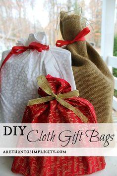 DIY Cloth Gift Bags   areturntosimplicity.com  #reuseable #clothbags #ecofriendly
