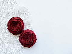 Dark Red Fabric Roses Handmade Appliques by BizimSupplies on Etsy