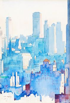 john held jr. I934 new york skyline watercolor and pencil on paper