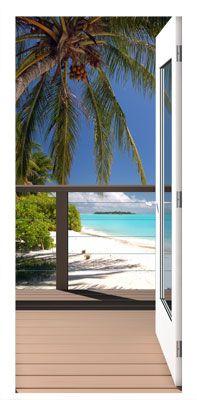 Tropical View Open Door Mural