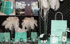 Breakfast at tiffanys baby shower allthingsslim Tiffany Centerpieces, Ostrich Feather Centerpieces, Tiffany Baby Showers, Tiffany Theme, Second Birthday Ideas, Breakfast At Tiffanys, Ostrich Feathers, Party Themes, Party Ideas
