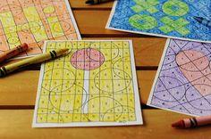 Pintar usando como guía números para descubrir el dibujo // Rust & Sunshine: Color-by-Number Valentines