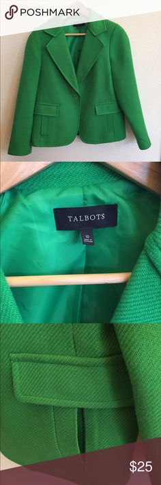 Talbots Kelly green jacket Great jacket/blazer with single button closure and 2 front pockets. Silky green lining. Talbots Jackets & Coats Blazers