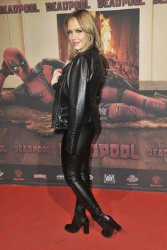 Leather jacket leggings ankle boots red carpet
