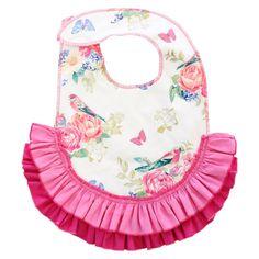 Olivia's Pink Floral Ruffle Bib