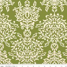 "1/2 Yard - Riley Blake Designs ""Botanique"" by Lila Tueller Designs, pattern L5082 Green - Damask by RainyDayJayne on Etsy"